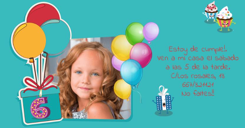 tarjeta de invitación cumpleaños