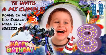 Cumpleaños Transformers con foto