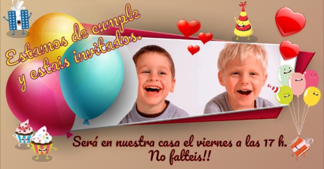 Tarjetas Cumpleaños Infantiles Con Globos Para Personalizar