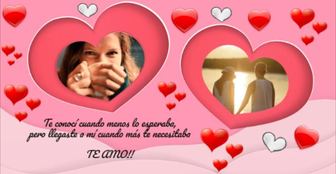 mensaje de amor en tu tarjeta de corazones con foto