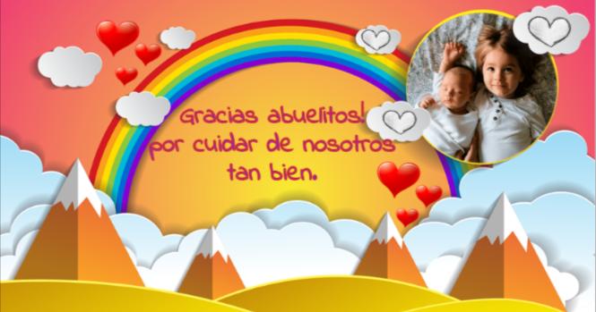 tarjeta de agradecimiento con arco iris y puesta de sol