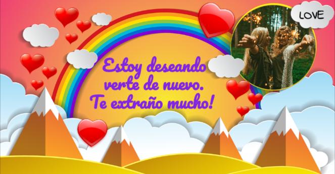 tarjeta para amigas con arco iris