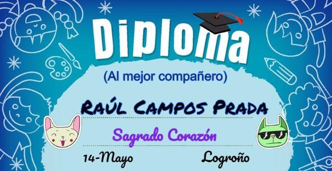 Diplomas escolares personalizados para niños.
