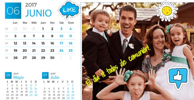 Hacer calendario junio 2017 para enviar online.