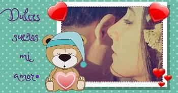 Hacer tarjeta de amor con imagen de dulces sueños.