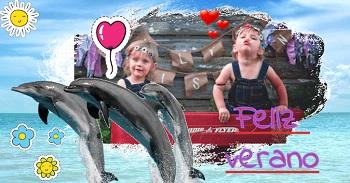 Tarjetas verano de imágenes con delfines.